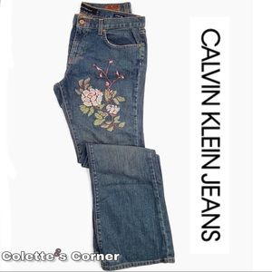 NWOT Calvin Klein Embroidered Floral Flared Jean